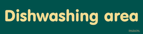 'Dishwashing area' sign