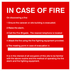 'In case of fire' sign