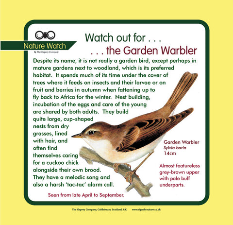 'Garden warbler' Nature Watch Panel
