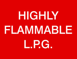 'Highly flammable LPG' sign