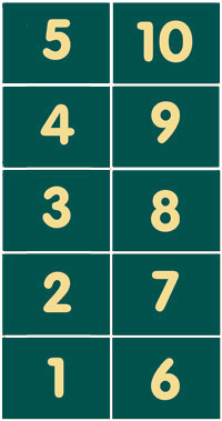 Pitch numbers 1 - 10