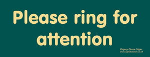 'Please ring for attention' sign