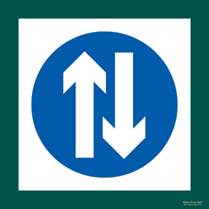 'Two way traffic' symbol sign