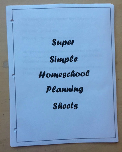 Super Simple Homeschool Planning Sheets