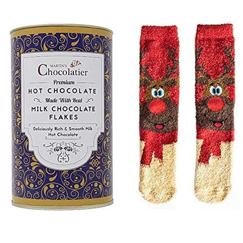 MILK HOT CHOCOLATE TIN AND REINDEER  SOCKS