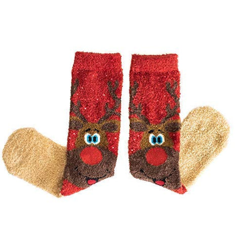 Christmas Socks with Reindeer Design (2 Pairs) Soft and Fluffy Festive Socks for Men and Women | Secret Santa Gift | Stocking Filler