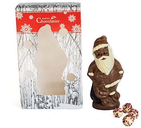Martin's Chocolatier Chocolate Santa | Festive Chocolate Gift | White Chocolate Truffles | Milk Chocolate, White Chocolate and Dark Chocolate