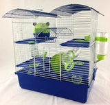 Abby 3 Tier Large Hamster Cage - Blue & Lime-Package Pets