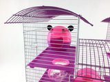 Abby 3 Tier Large Hamster Cage - Pink & Purple-Package Pets