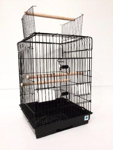 Alfy Open Top Large Bird Cage For Parrots & Cockatiels - Black-Package Pets