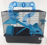 Bernie Large Dwarf Hamster Cage With Play Tubes - Blue-Package Pets