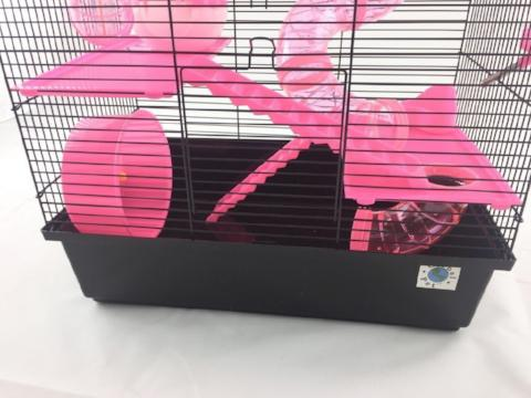 Bernie Large Dwarf Hamster Cage With Play Tubes - Pink-Package Pets