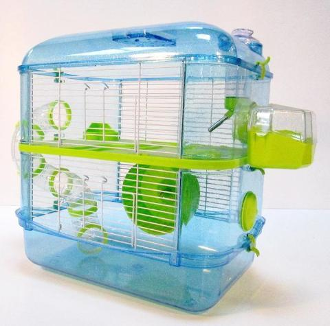 Fantazia 2 Tier Large Glitter Hamster Cage - Blue & Lime-Package Pets