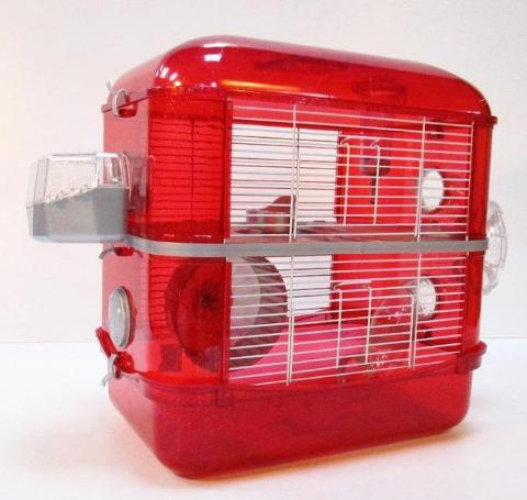 Fantazia 2 Tier Large Glitter Hamster Cage - Red & Silver-Package Pets