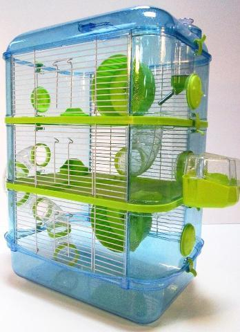 Fantazia 3 Tier Large Glitter Hamster Cage - Blue & Lime-Package Pets
