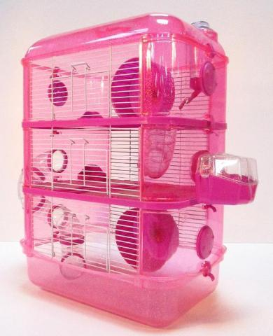 Fantazia 3 Tier Large Glitter Hamster Cage - Pink & Purple-Package Pets