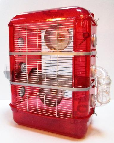 Fantazia 3 Tier Large Glitter Hamster Cage - Red & Silver-Package Pets