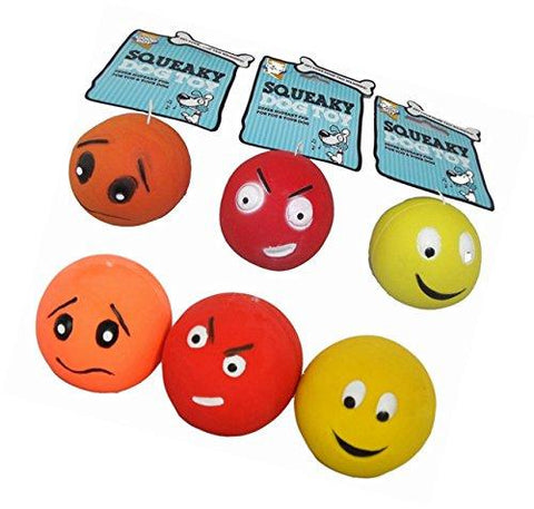 Goodboy Latex Squeaky Face Ball Dog Toys - 6 Pack-Package Pets