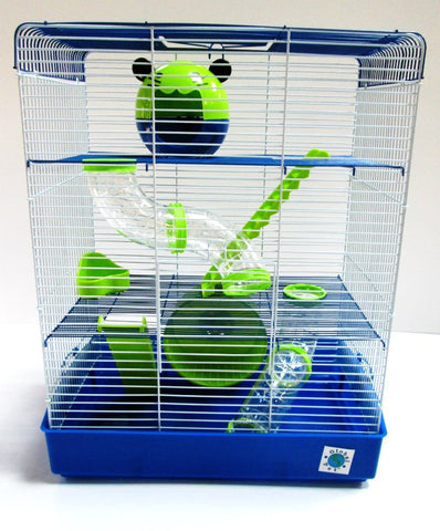 Penthouse 3 Tier Large Hamster Cage - Blue & Lime-Package Pets
