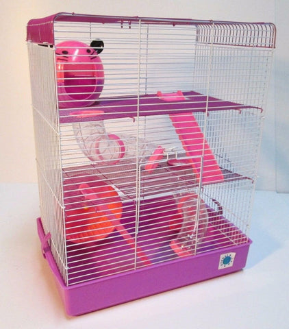 Penthouse 3 Tier Large Hamster Cage - Pink & Purple-Package Pets