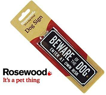 Rosewood Beware of the Dog Sign with Screws-Package Pets