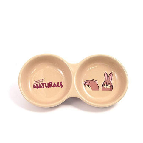 Rosewood Stoneware Twin Bowls For Small Animal Food-Package Pets