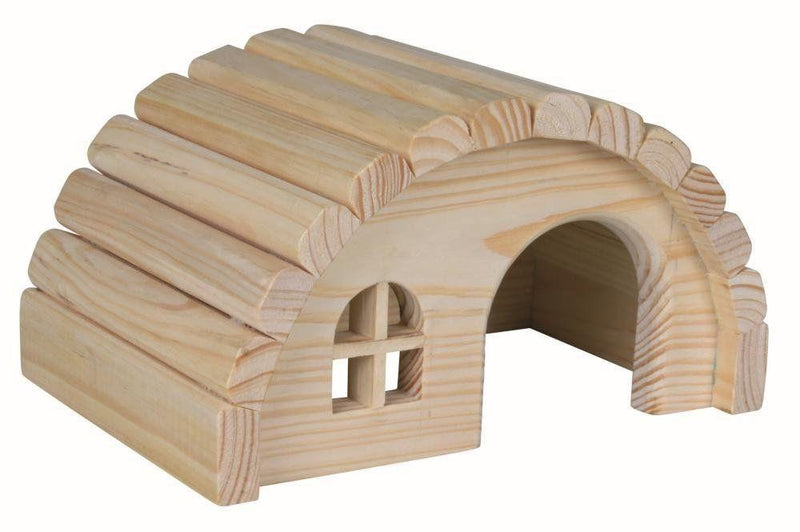Trixie Natural Wooden Curved Roof Hamster House - 18 cm or 28 cm-Package Pets