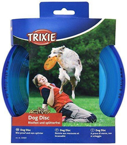 Trixie Plastic Bite Proof Frisbee For Dogs 23 cm - Blue or Orange-Package Pets