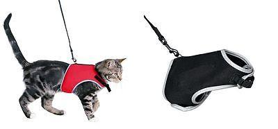 Trixie Reflective Cat Walking Harness and Lead - Black Or Red-Package Pets