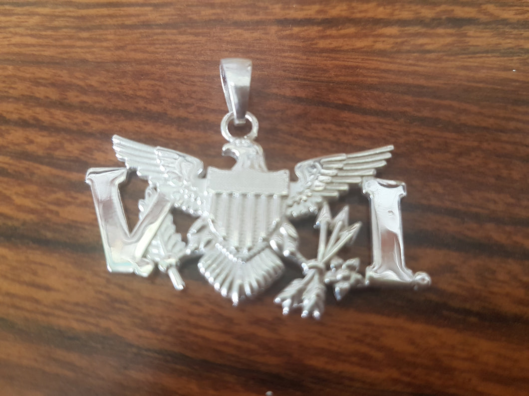 Sterling silver V.I.eagle pendant 2 inches  wide