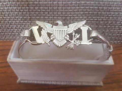 Women's sterling silver VI flag bracelet