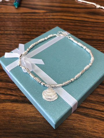 Sterling silver (925) seashell Anklet.