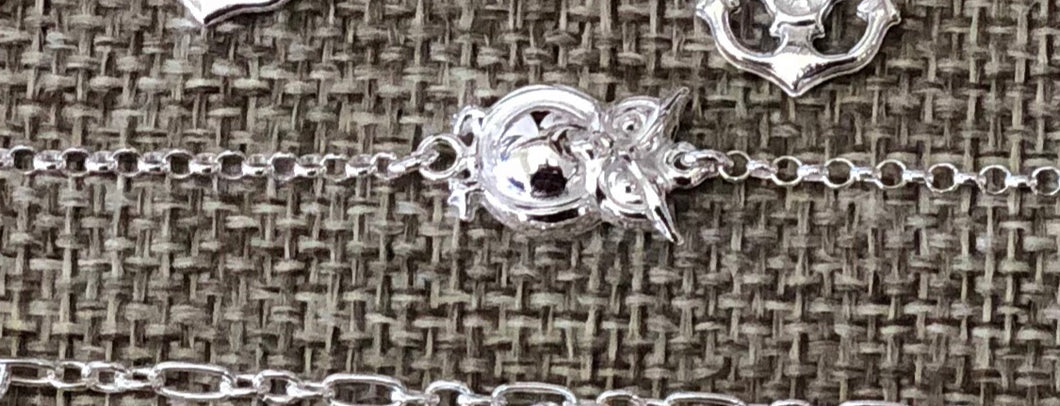 Sterling silver owls foot chain