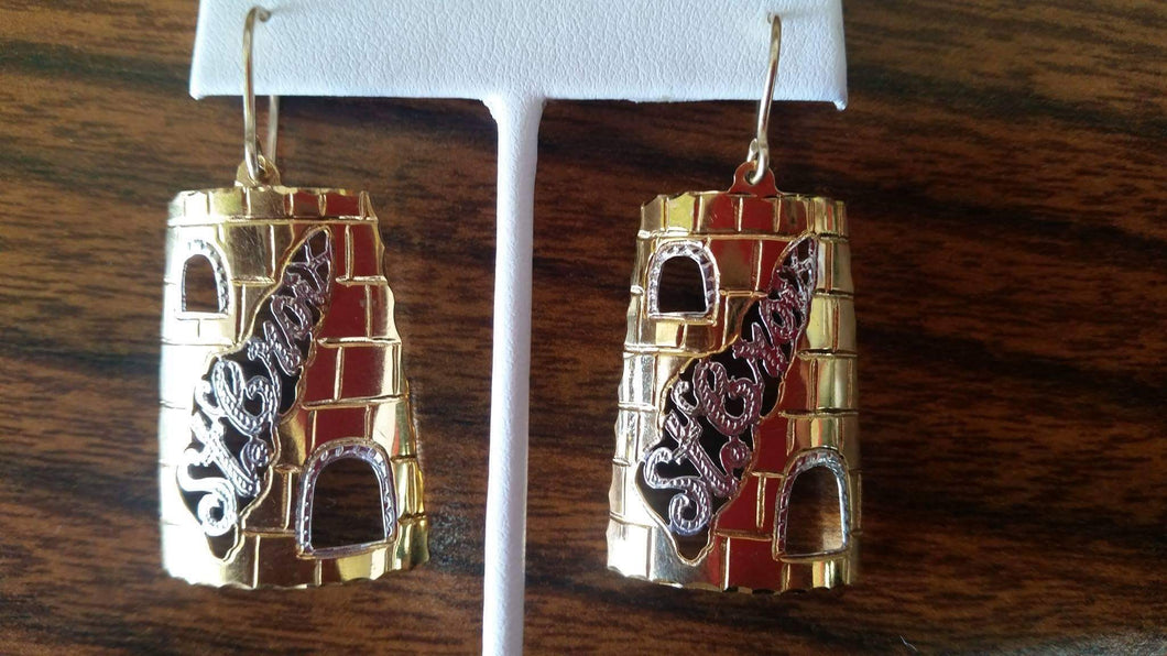 14k gold handmade St.Croix sugar mill earrings.