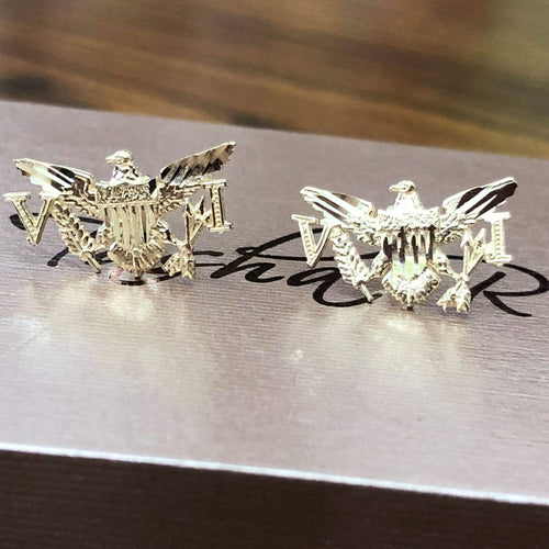 14k and 10 k gold VI Eagle Earrings