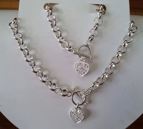 925 Sterling silver heart bracelet and necklace