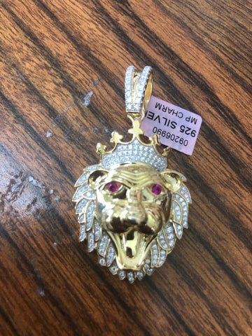 Sterling silver with gold layered Lion head pendant