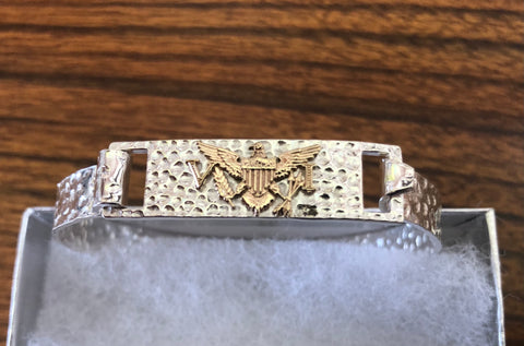 Sterling silver with gold VI flag bracelet