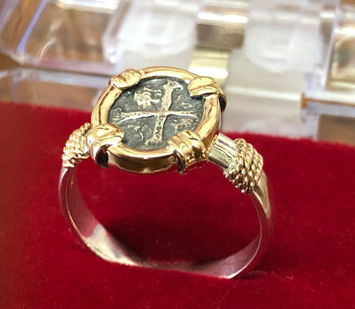 14k gold frame sterling silver Spanish coin ring.