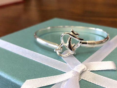 Dolphin with the heart sterling silver (925) kid's bracelet