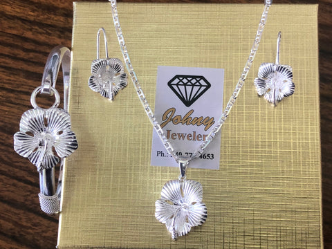 925 Sterling silver hibiscus set.