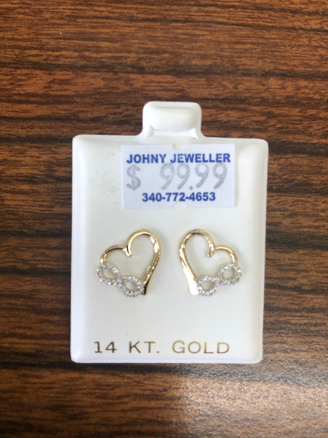 14 k gold heart with infinity earrings.
