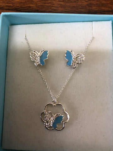 Sterling silver little girl's  butterfly set.