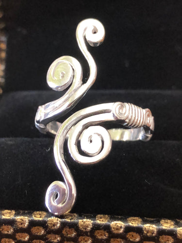 Sterling silver adjustable waves ring.