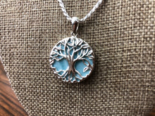 Tree of life sterling silver Larimar stone pendant and chain