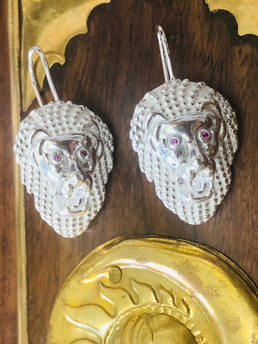 Sterling silver Lion head earrings.