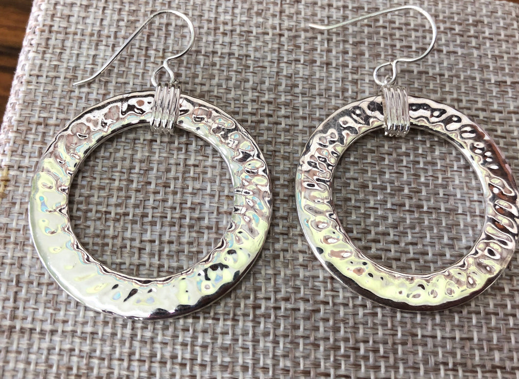 Sterling silver handmade hammered earrings 2 inches wide