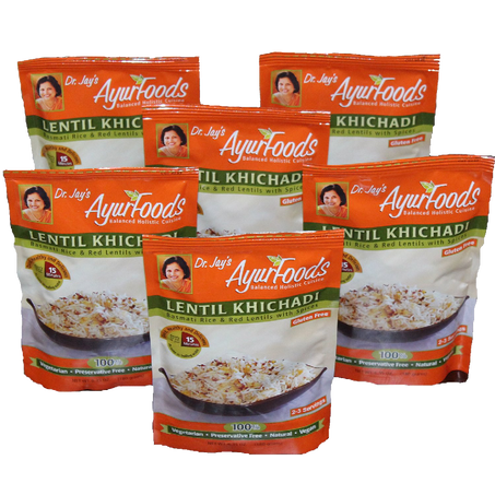 Dr. Jay's Ayurfoods Lentil Khichadi 6 Pack  Premium Blend Of Basmati Rice, Lentils And Spices, Free Of Preservatives