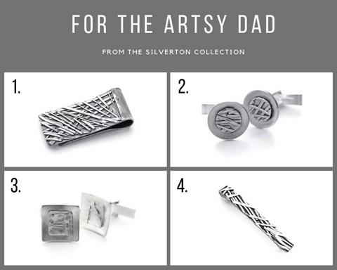 Sterling silver cufflinks, money clips, tie bars. Unique gifts for Father's Day