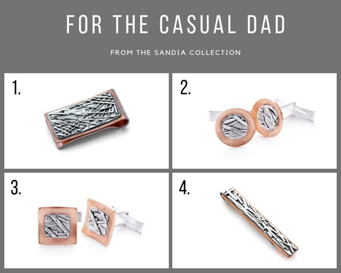 Copper and sterling silver gifts for dad money clips, cufflings, tie bars